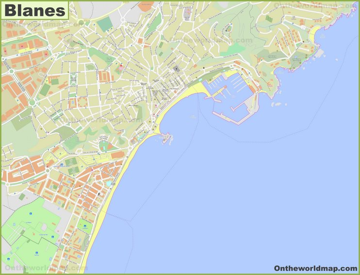 Detailed map of Blanes