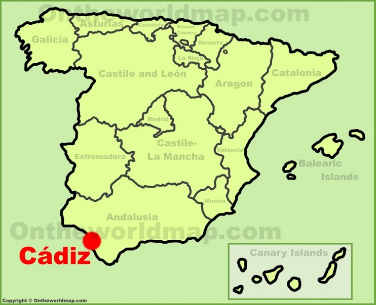 Cádiz location on the Spain map