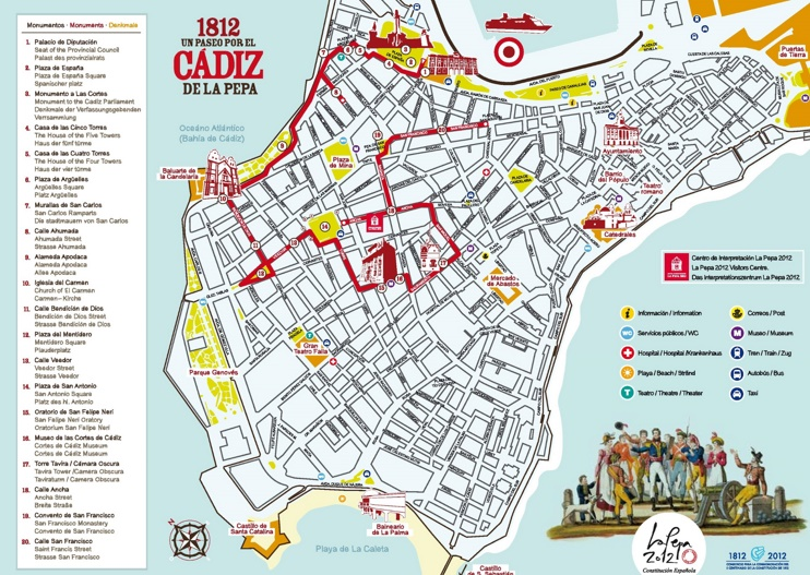 Cádiz sightseeing map