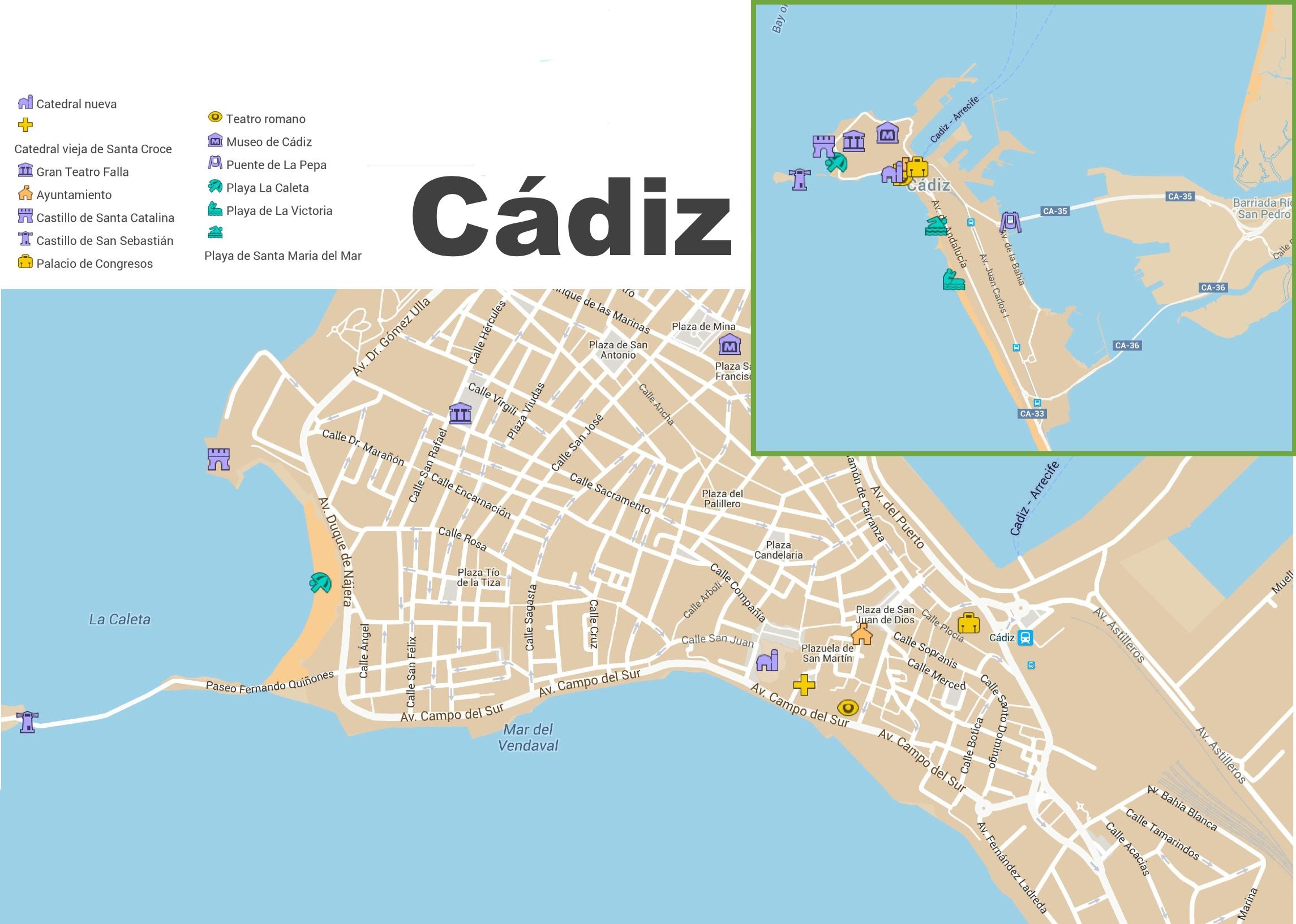 Map Of Spain Cadiz.Cadiz Tourist Map