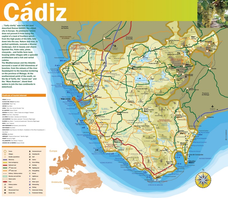 Province of Cádiz map