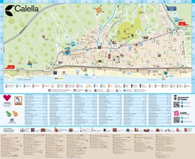 Calella hotels and sightseeings map