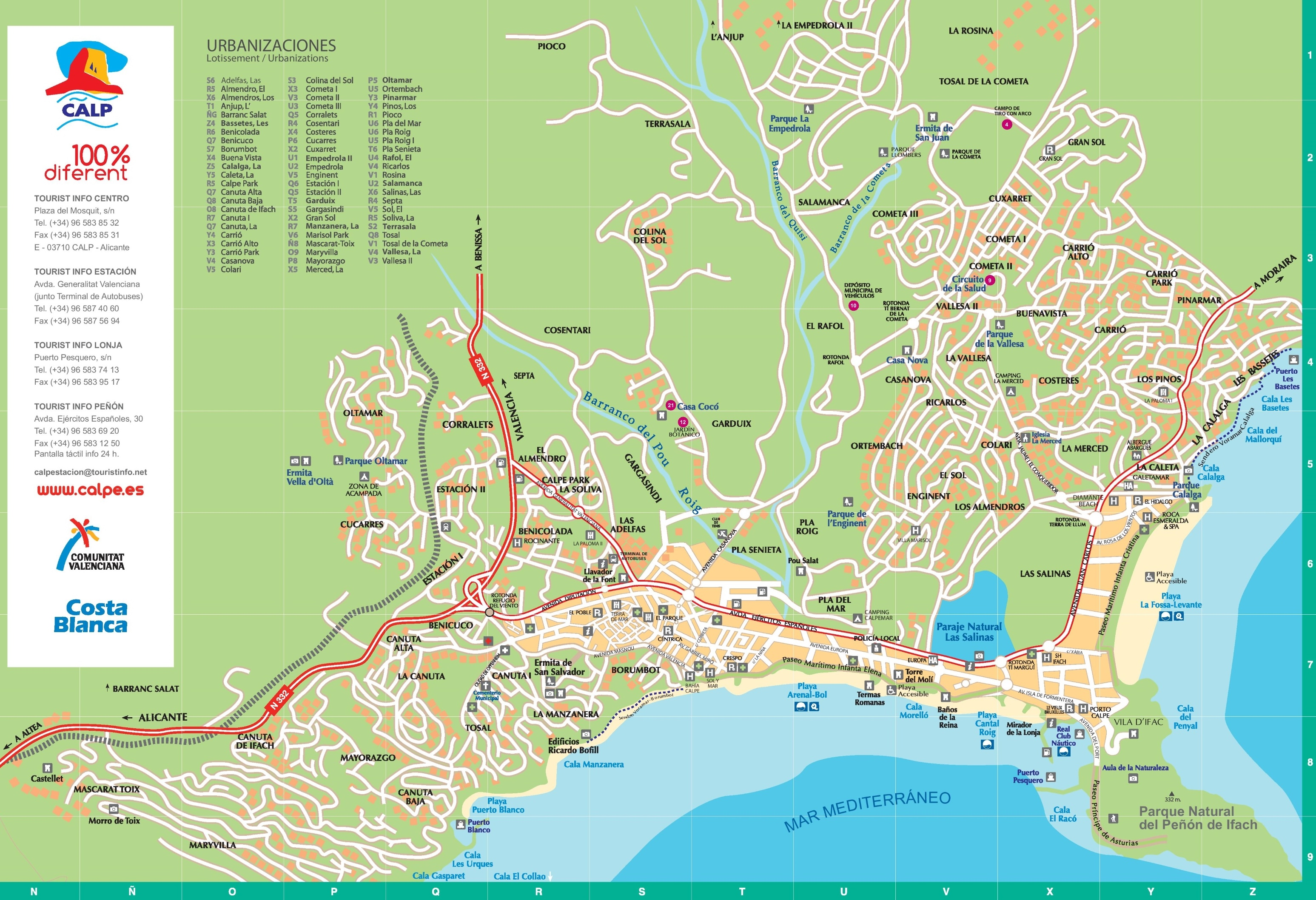 Calp tourist map
