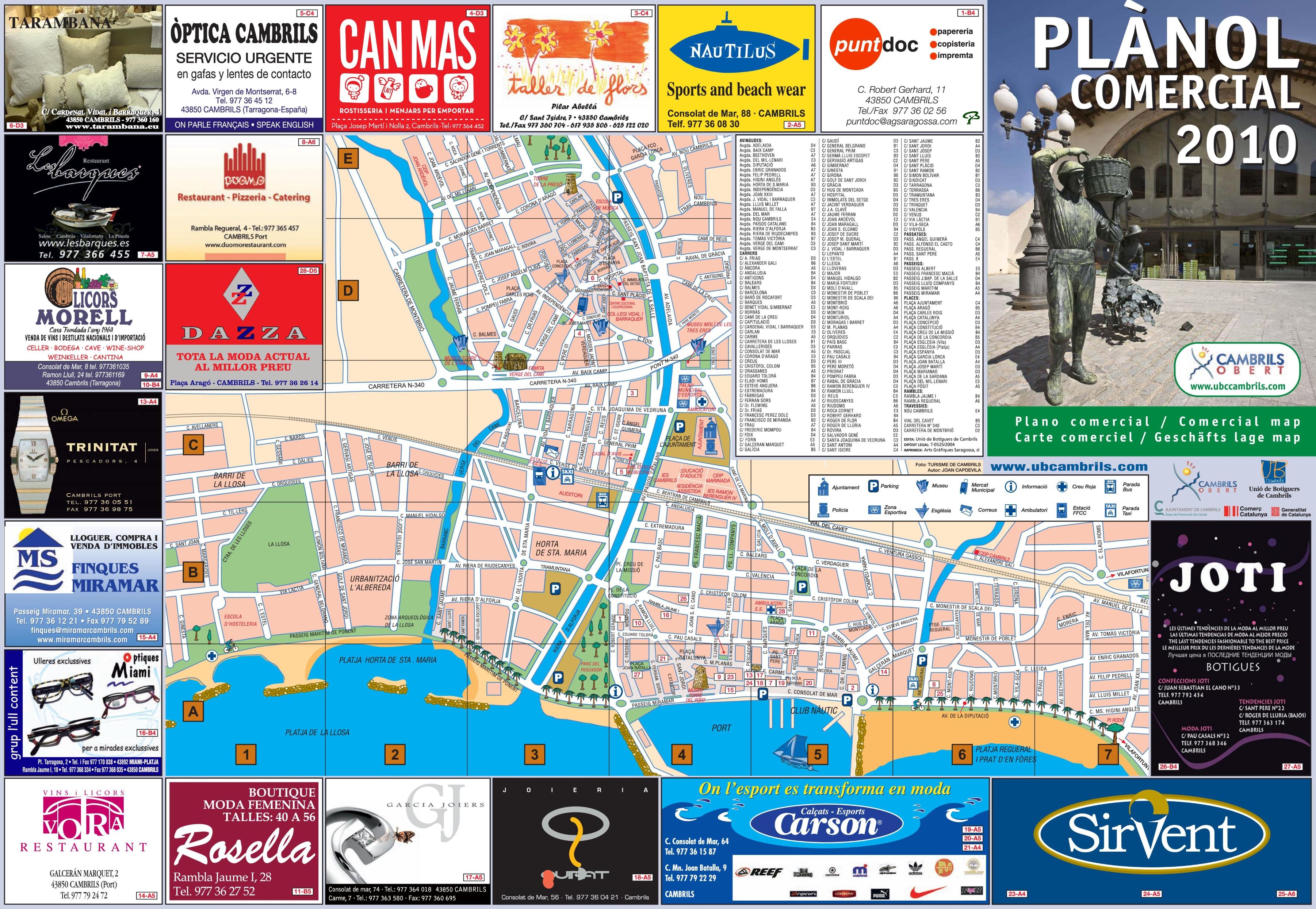 Cambrils city center map