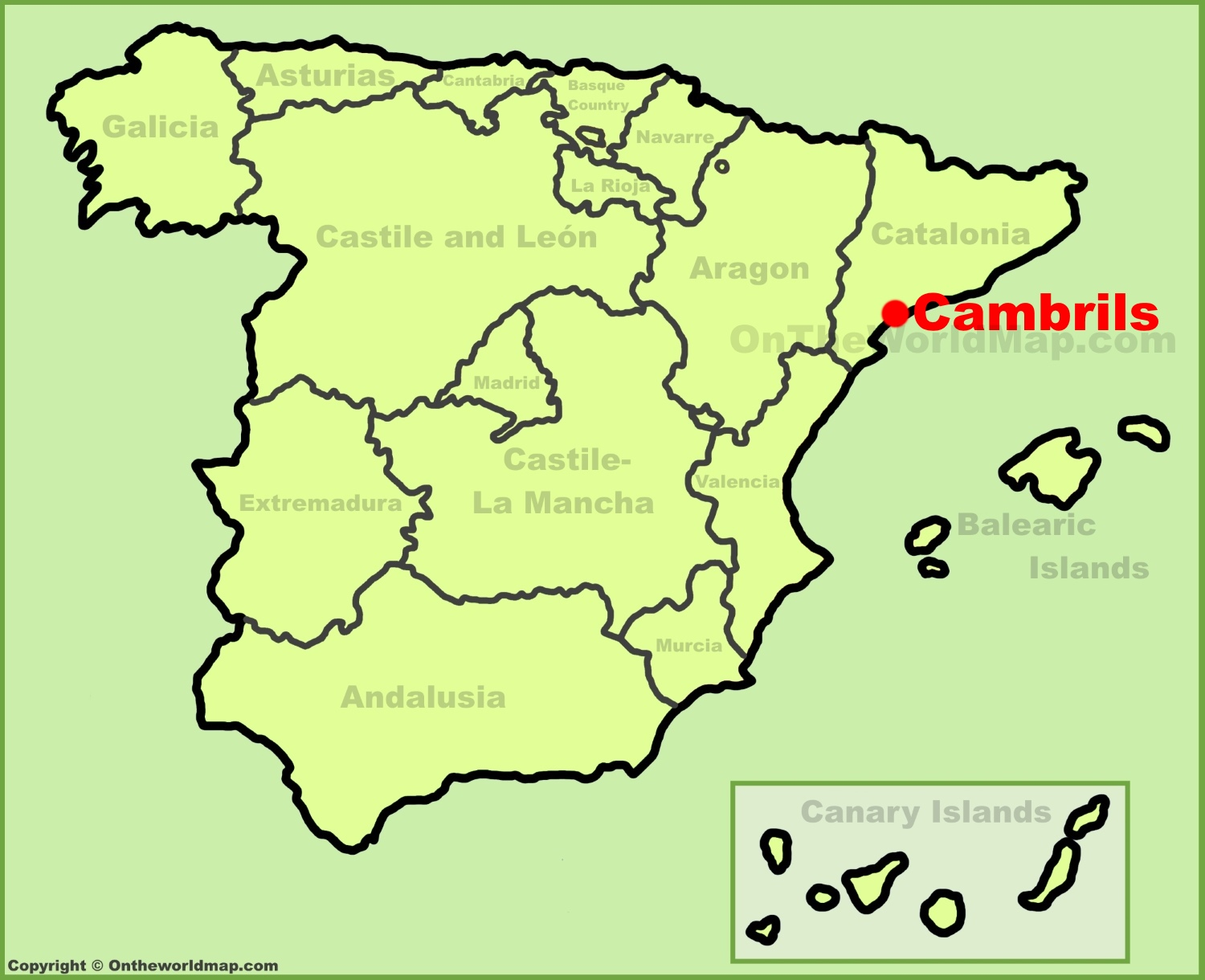 Cambrils location on the Spain map