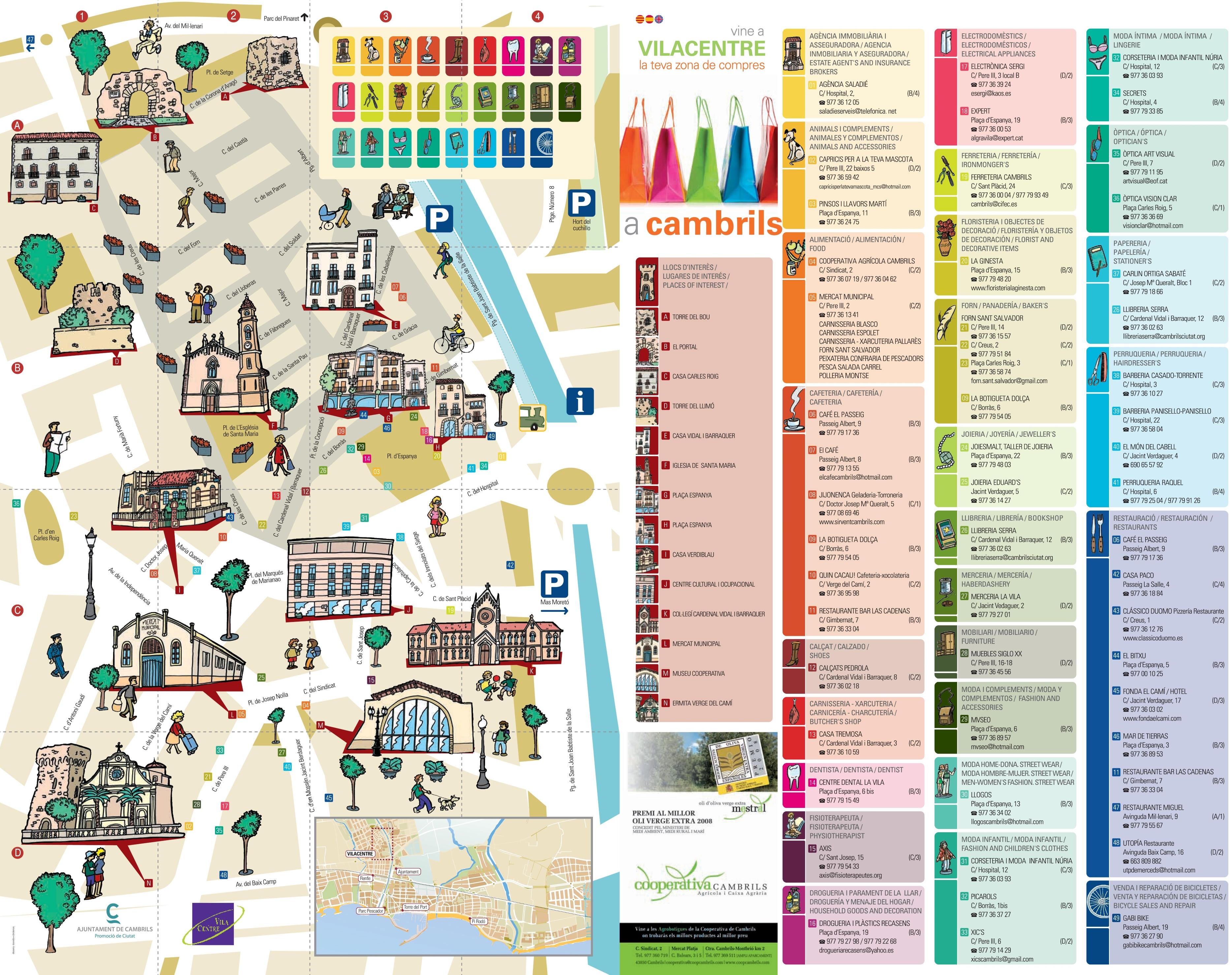 Cambrils tourist map