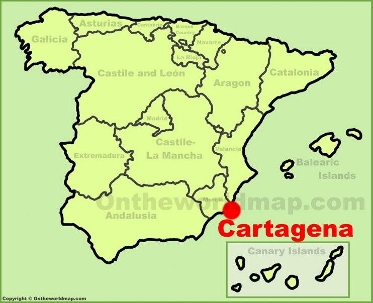 Cartagena location on the Spain map