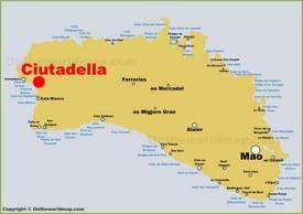 Ciutadella Location on The Minorca Map