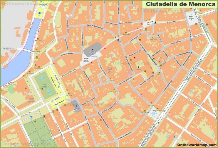 Ciutadella de Menorca Old Town Map