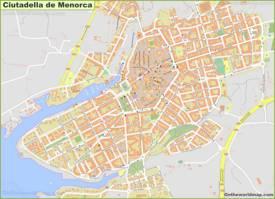 Detailed Map of Ciutadella de Menorca
