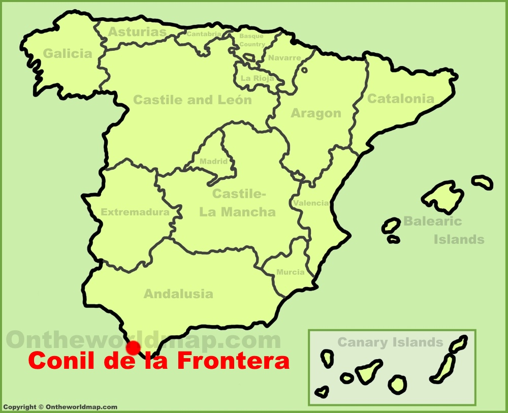Conil de la Frontera location on the Spain map