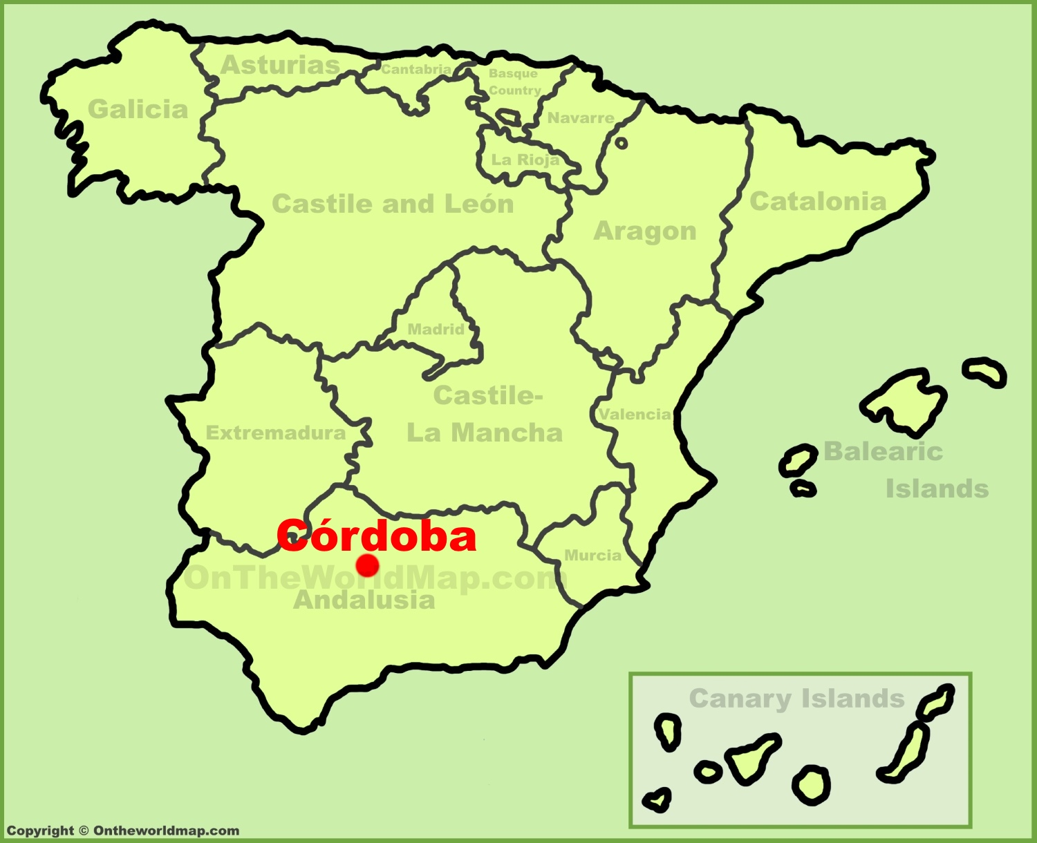 Cordoba location on the Spain map