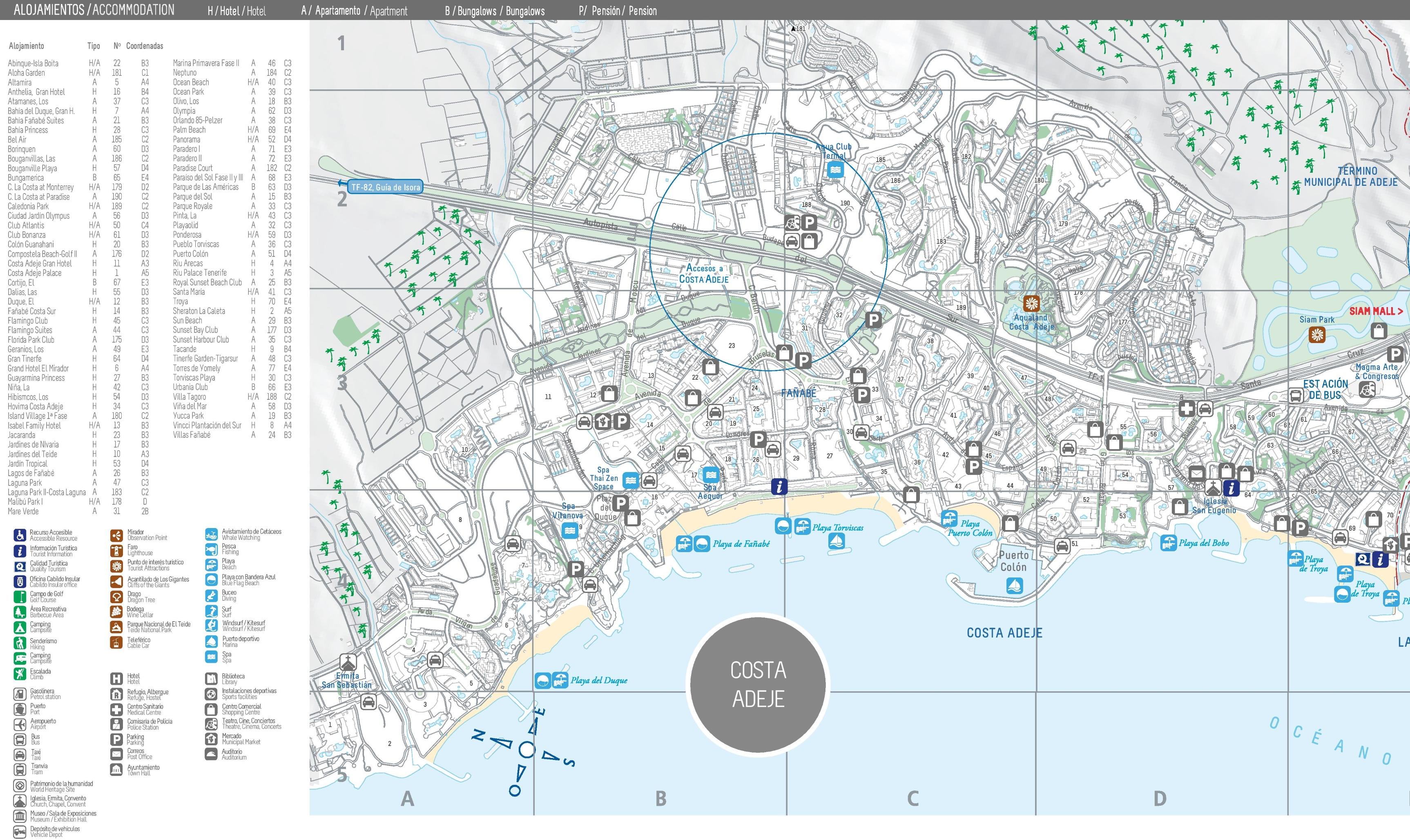 Costa Adeje Maps Spain Maps of Costa Adeje