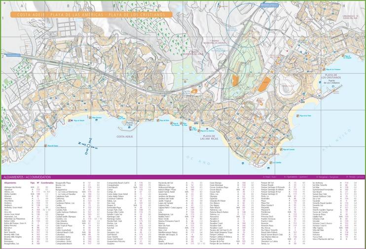 Costa Adeje, Los Cristianos and Playa de las Américas accommodation map