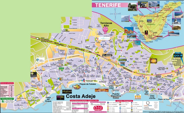 Map Of Costa Adeje Showing All Hotels