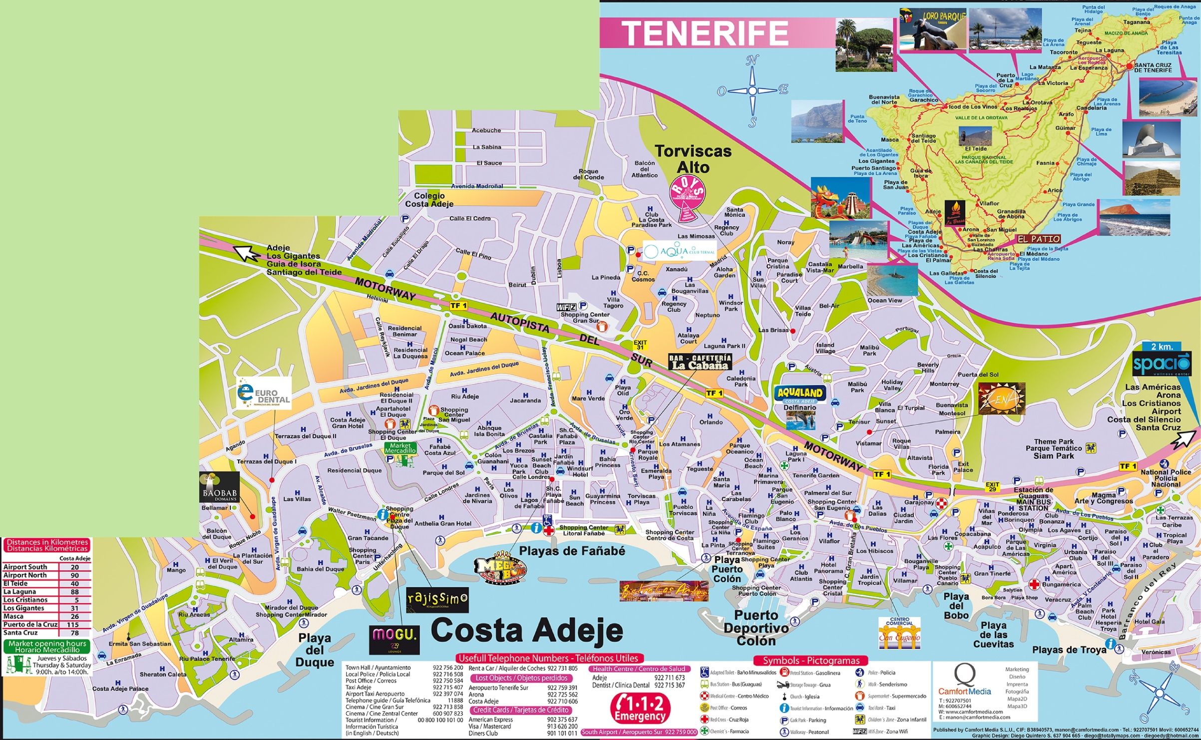 Costa Adeje Map Costa Adeje tourist map