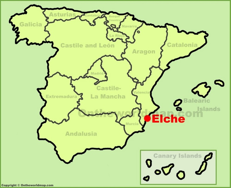 Elche location on the Spain map