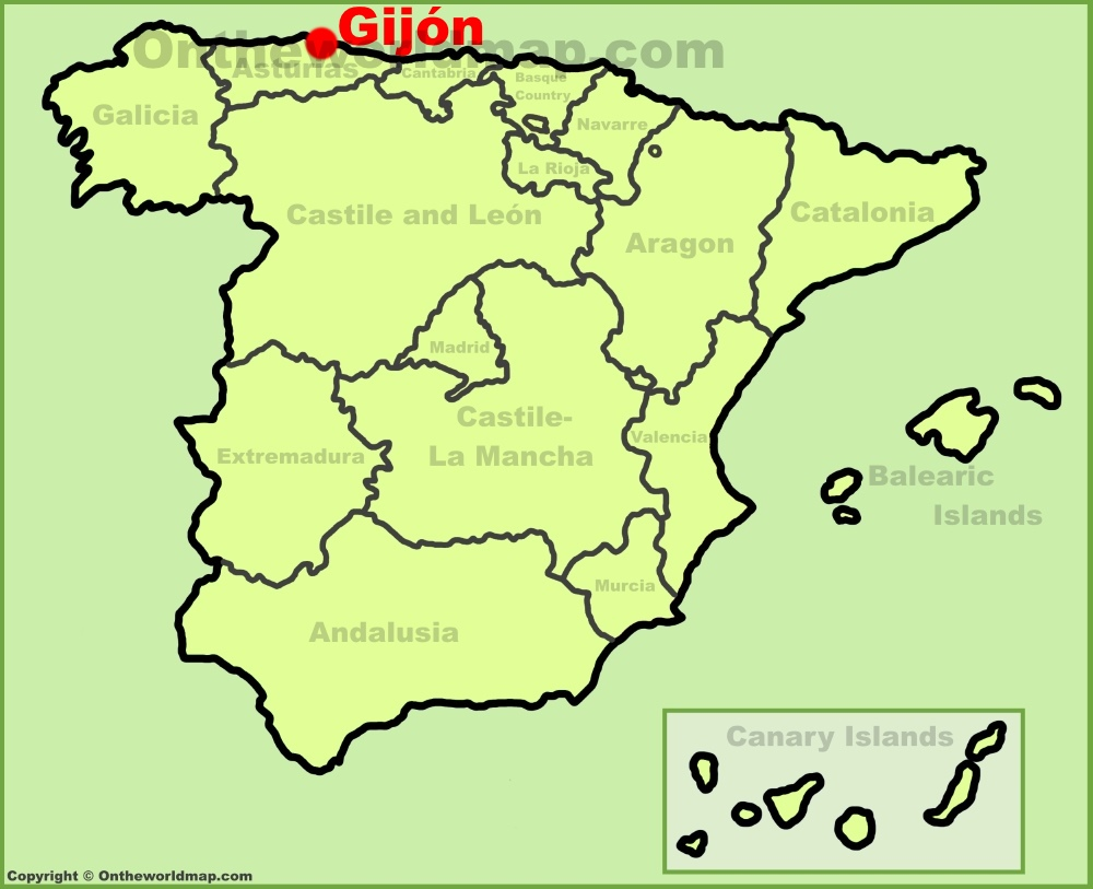 Gijn location on the Spain map