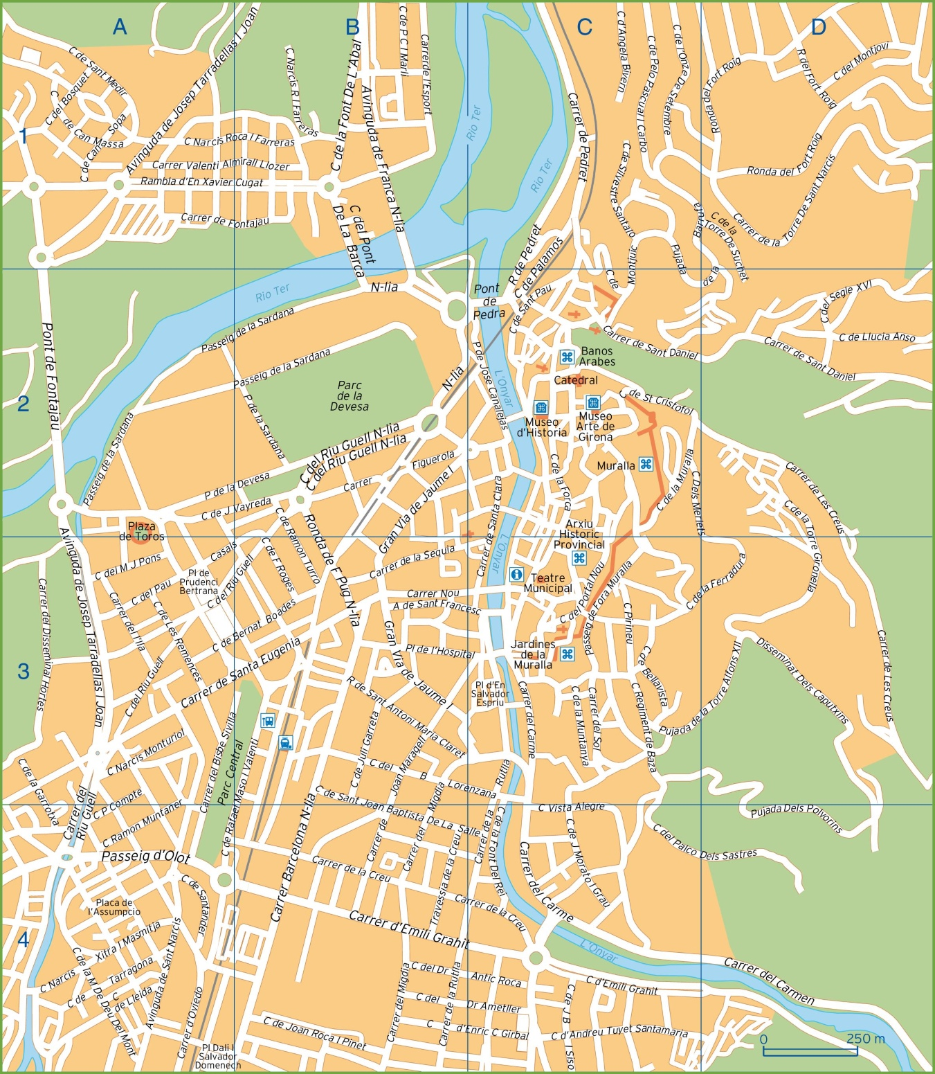 Map Of Spain For Tourists.Girona Tourist Map