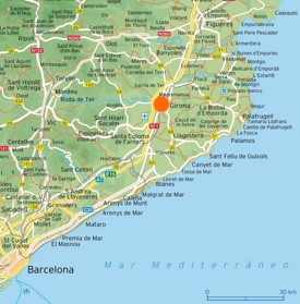 Map of surroundings of Girona