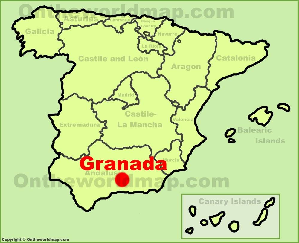 Granada location on the Spain map on cadiz spain map, zaragoza spain map, deia spain map, madrid spain map, almeria spain map, valencia spain map, bilbao spain map, andujar spain map, pamplona spain map, alhambra spain map, gibraltar map, seville map, rota spain map, chile spain map, malaga spain map, santander spain map, ortigueira spain map, hamburg germany map, salamanca spain map, mieres spain map,