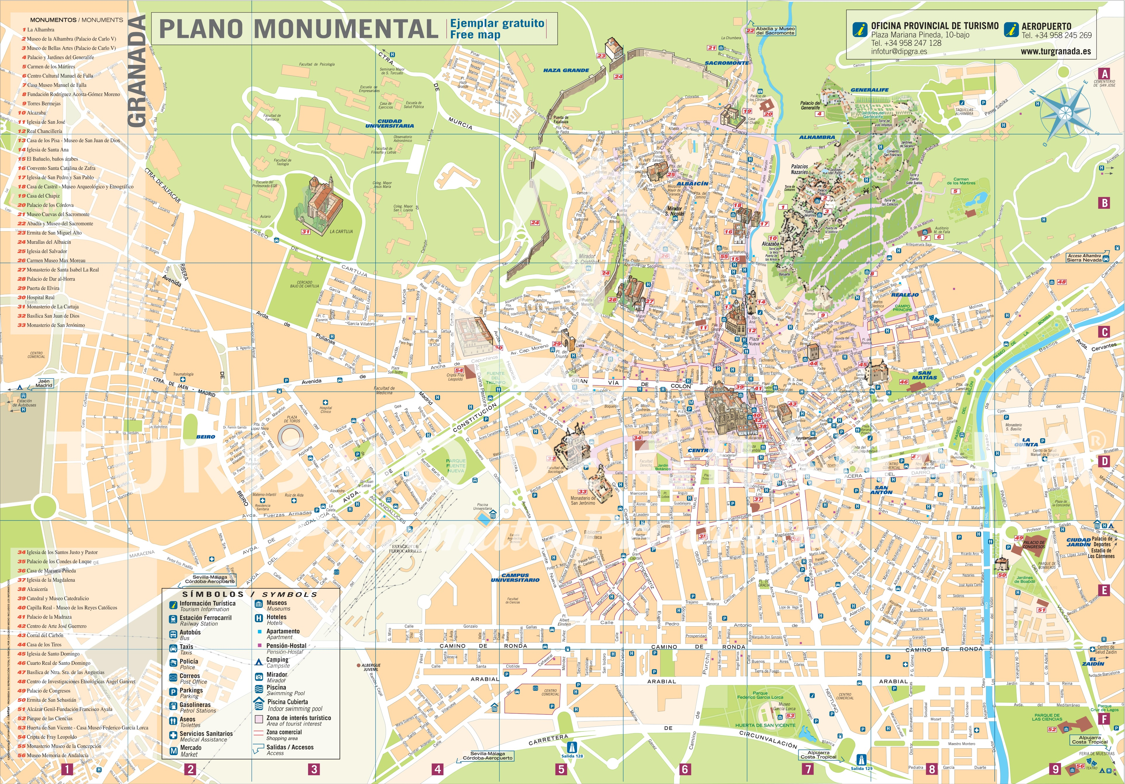 Granada tourist map