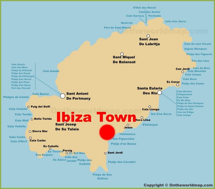 Ibiza Town Location On The Ibiza Island Map