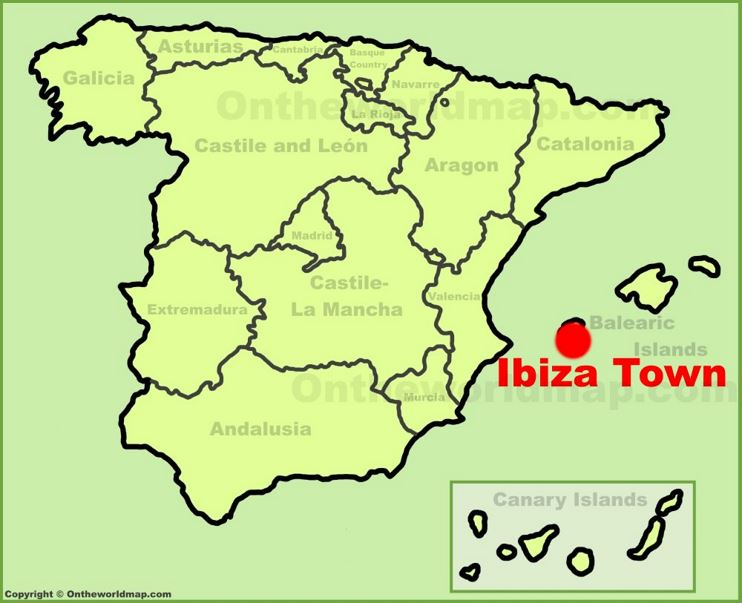 Ibiza Town Location On The Spain Map