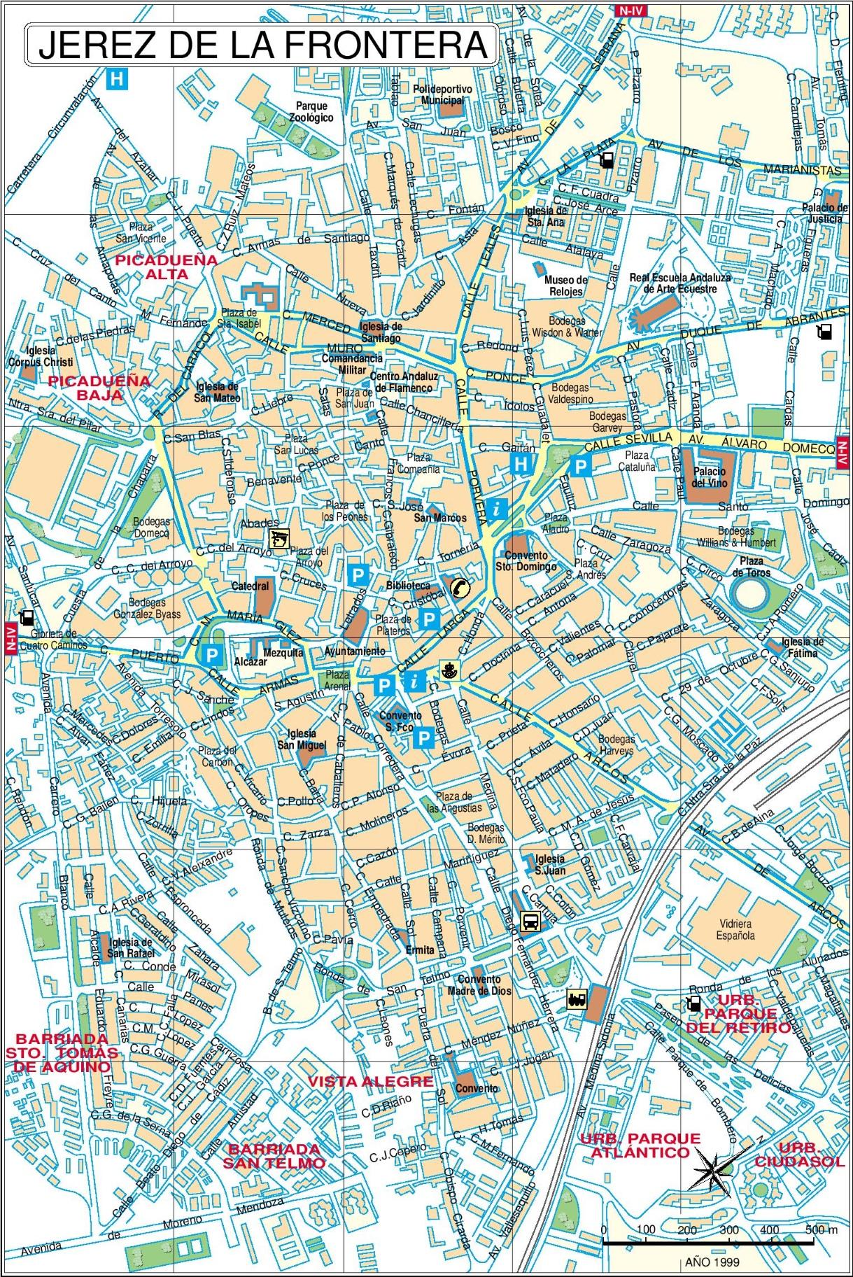 Jerez de la Frontera city center map