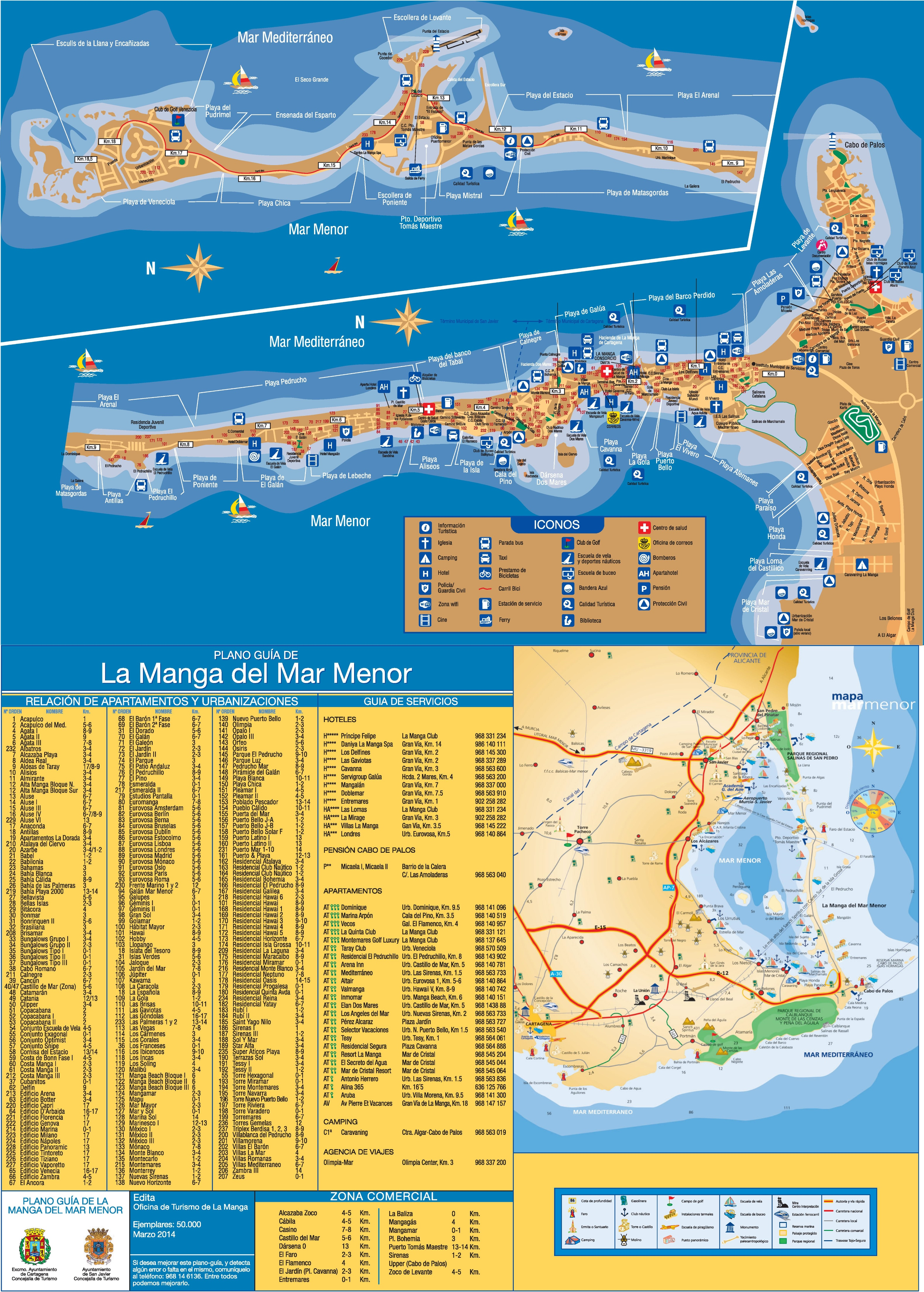 Map Of Spain La Manga.La Manga Hotels And Sightseeings Map
