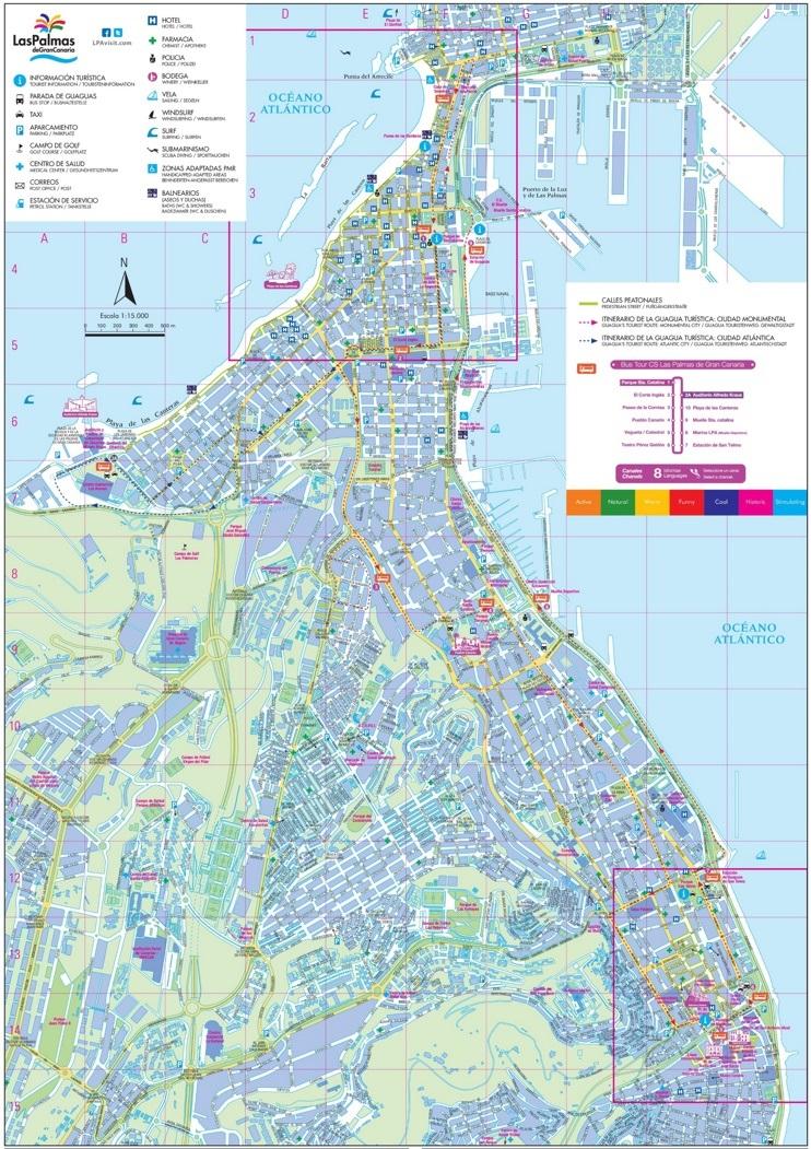 Las Palmas hotels and sightseeings map