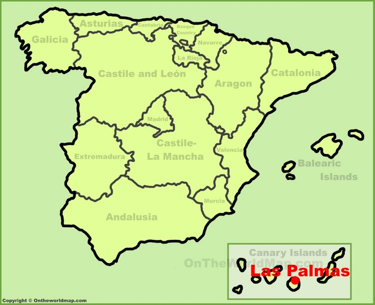 Las Palmas location on the Spain map