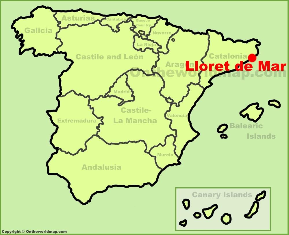 Lloret de Mar location on the Spain map