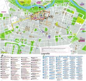Logroño Hotels And Sightseeings Map