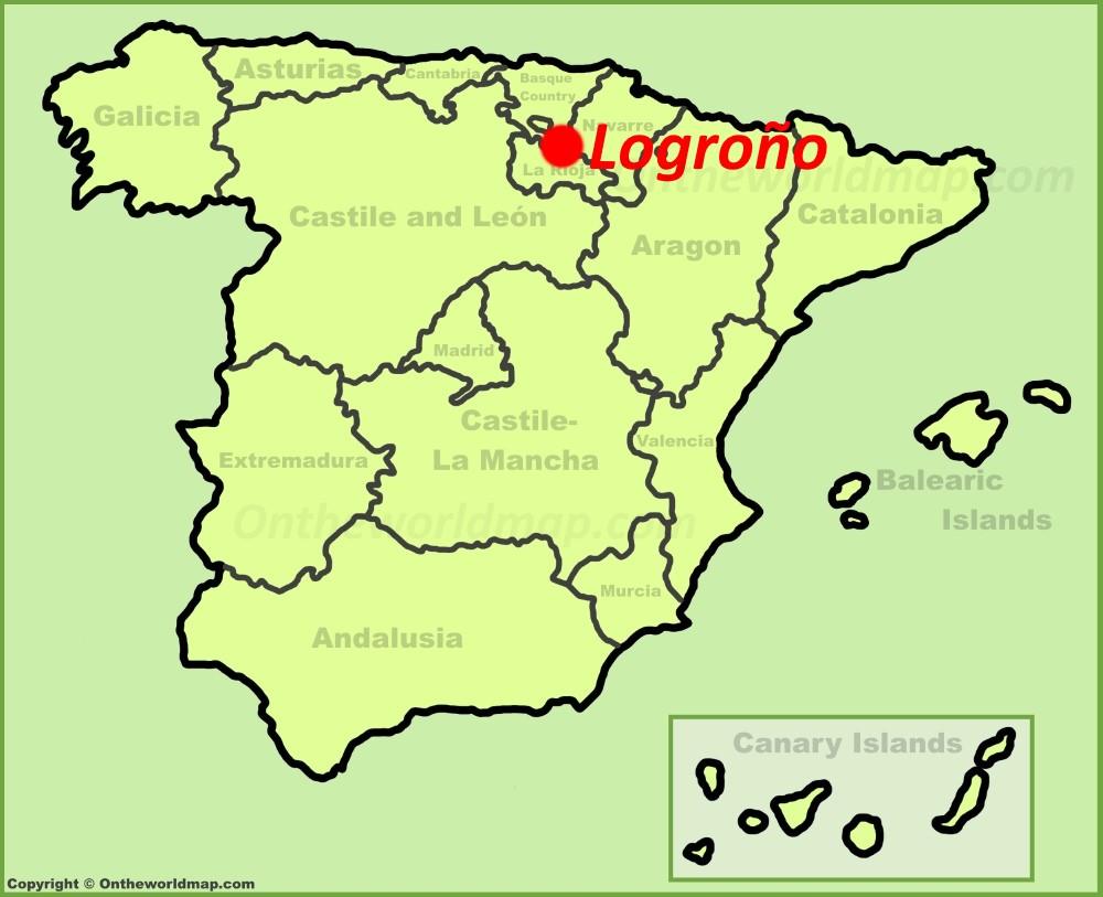 Logroño en el mapa de España
