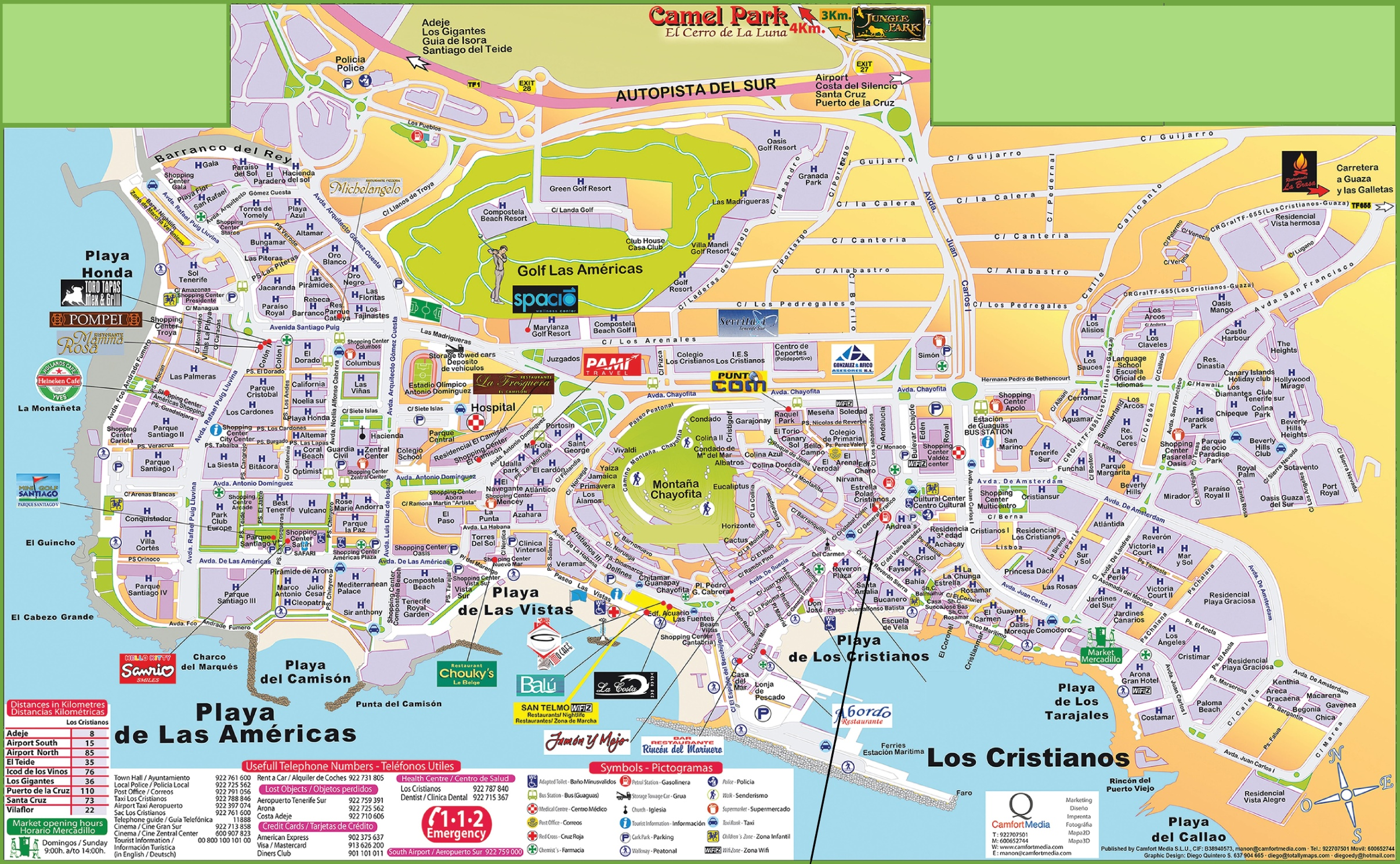 Playa De Las Americas Map Los Cristianos and Playa de las Américas hotel map Playa De Las Americas Map