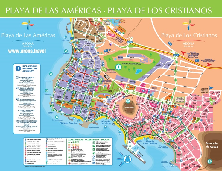 Los Cristianos and Playa de las Américas sightseeing map