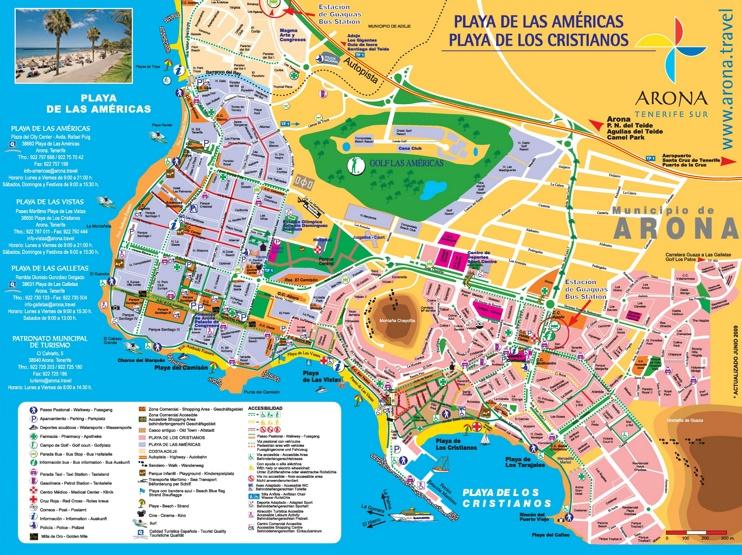Los Cristianos and Playa de las Américas tourist map