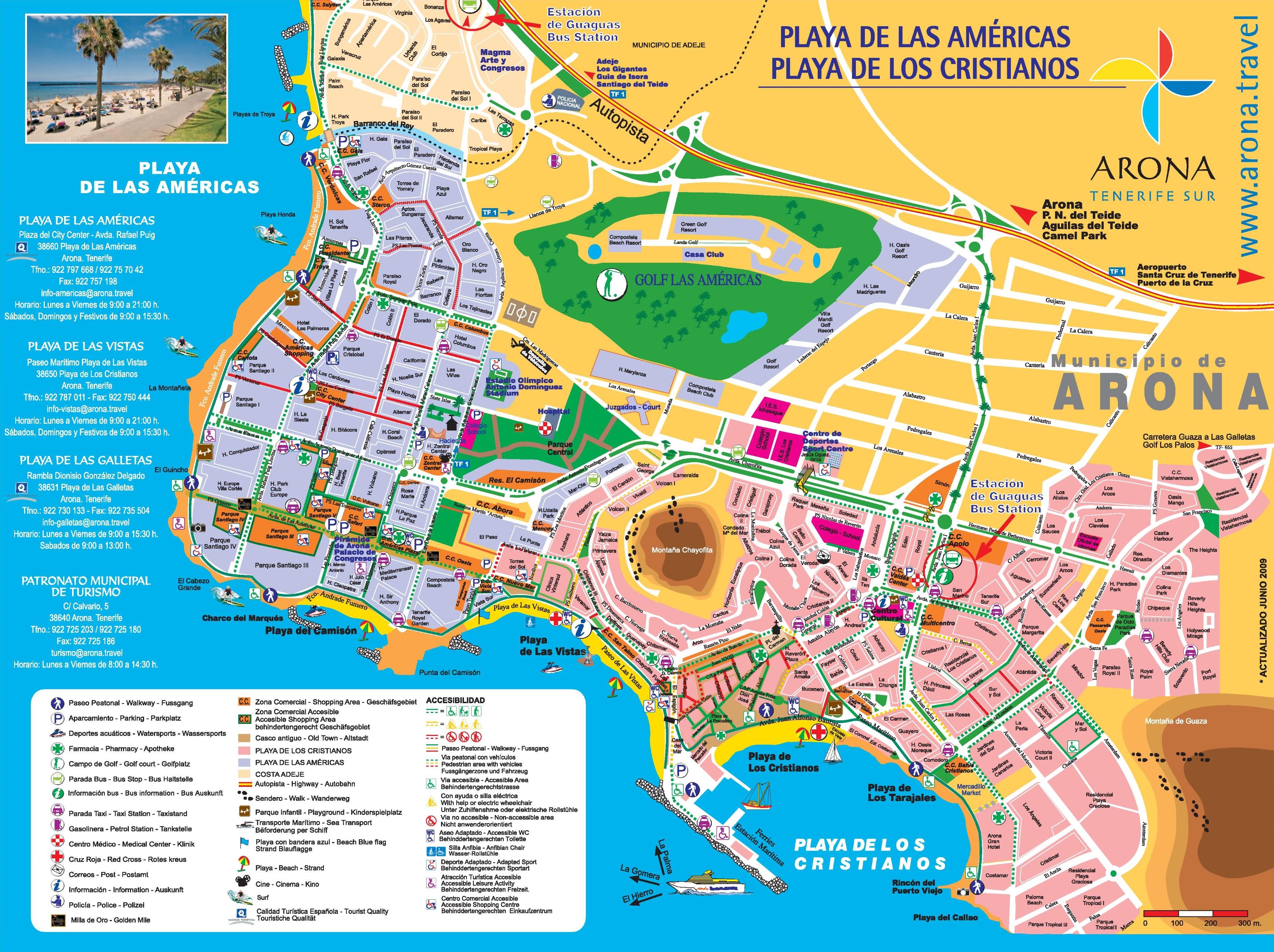 Los Cristianos and Playa de las Amricas tourist map