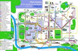 Mapa de autobuses de Madrid con atracciones turísticas