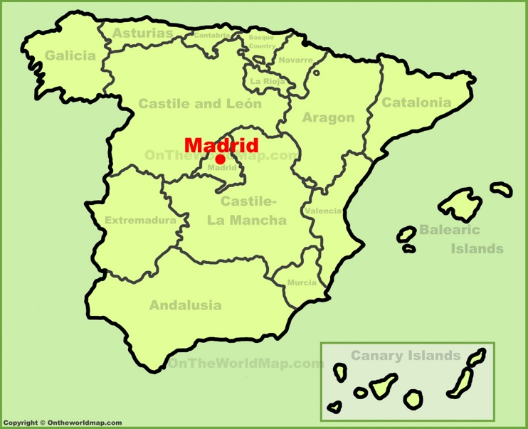 Madrid location on the Spain map