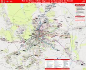 Mapa de metro y tren ligero de la Comunidad de Madrid