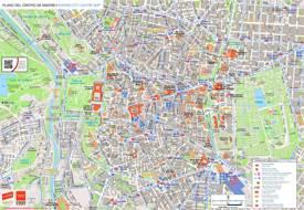 Mapa turístico de Madrid con rutas de autobuses