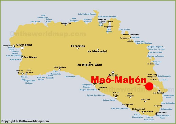 Mahón Location on The Minorca Map