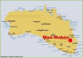 Mahón Location on The Minorca Map