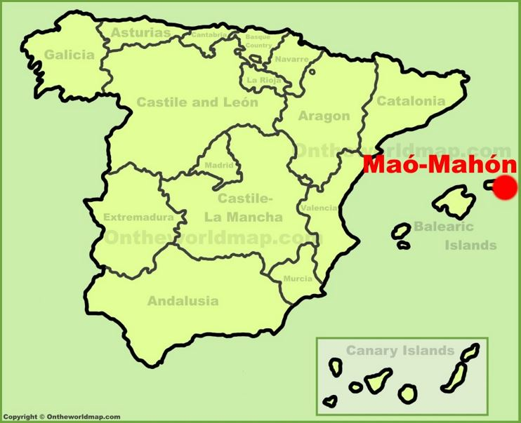 Mahón location on the Spain map