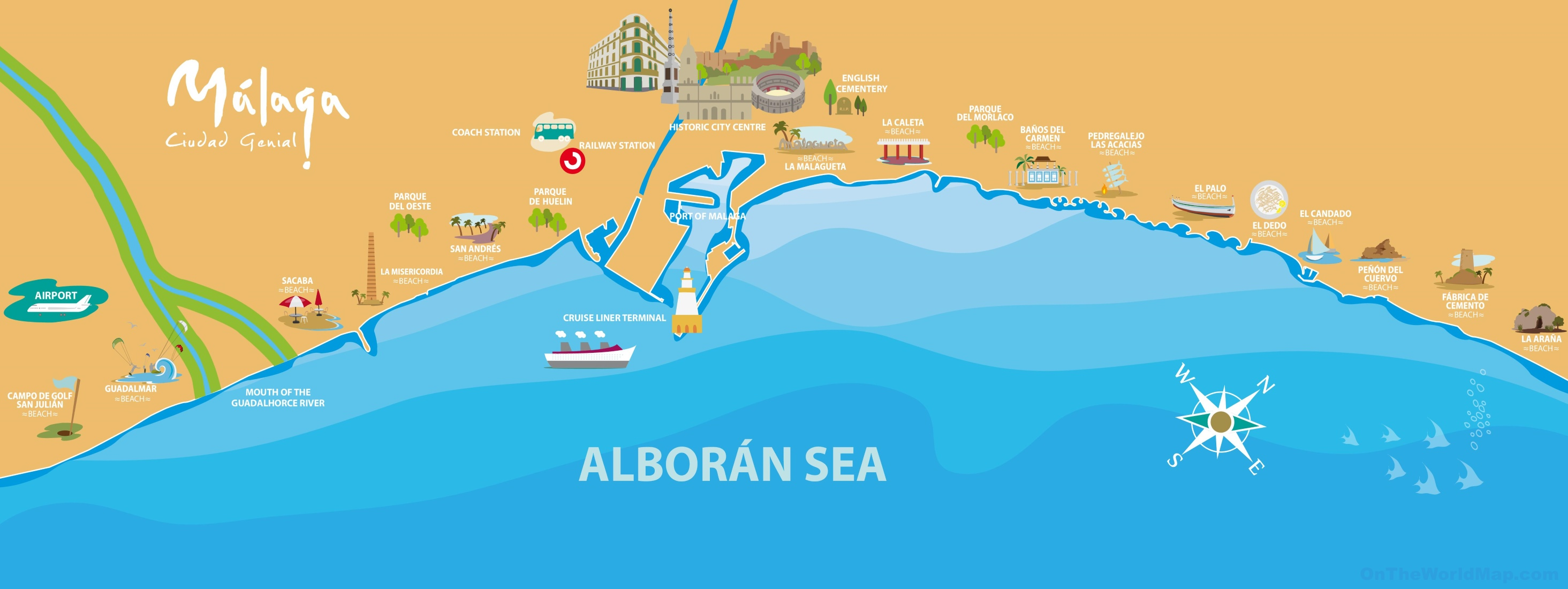 Malaga beaches map