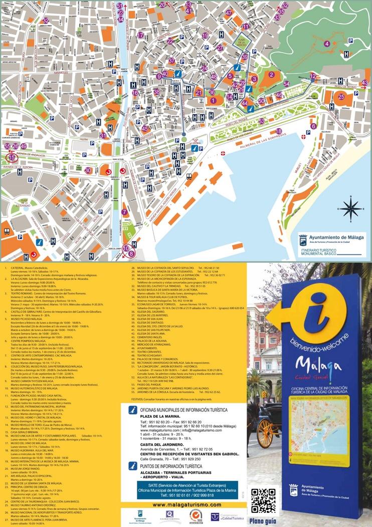 Málaga - Mapa de hoteles y atracciones turísticas