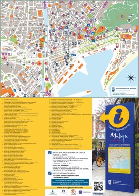 Malaga hotels and sightseeings map