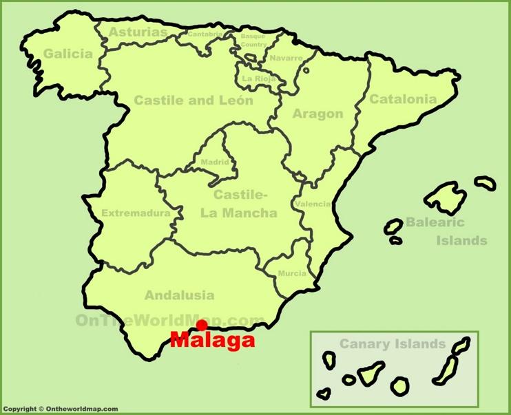 Málaga en el mapa de España